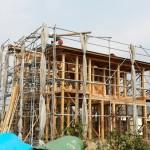 建て方も順調に進み、無事上棟式を迎えることができ、ご近所 親戚とたくさんの方々が集まって下さり盛大な式となりました。