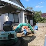 外部では増築する部分の水道工事