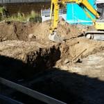 道路に面しているところの基礎工事です。
