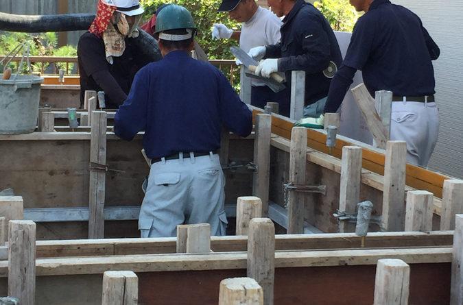 天気の良い中で、コンクリート打設を行えました。